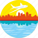 aeroplane, airplane, city, flight, flying over city, plane, travel icon