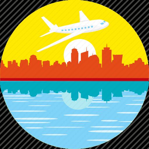 aeroplane, airplane, city, flight, flying over city, plane, travel icon