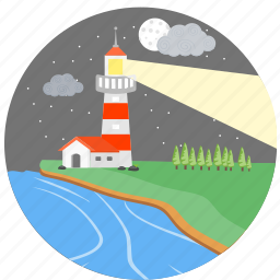 clouds, light house, moon, navigation, night, star, stars icon
