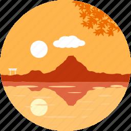 good morning, lake, morning, shadow, sun, sunny, sunrise icon
