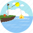 adventure, camp, camping, fish, fishing, sunny, trap icon