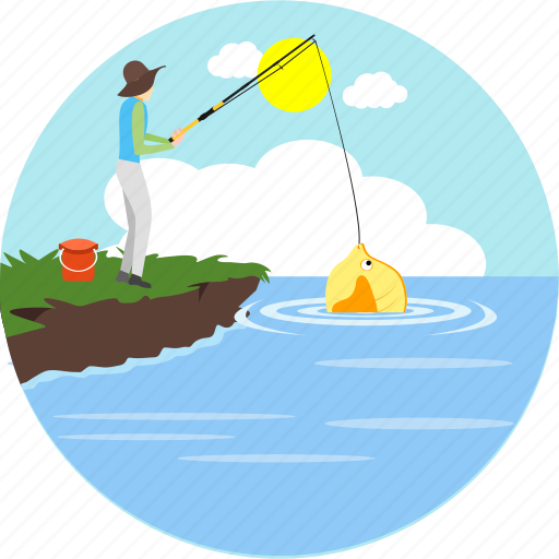 adventure, camp, camping, fish, fishing, sunny, trap icon