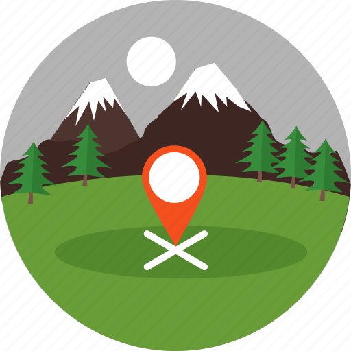 camp, direction, gps, location, navigation, pointer, position icon