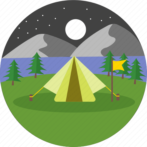 adventure, camp, camping, moon, night, stars, tent icon