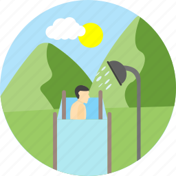 bath, bathing, camp bath, camping, outdoor, shower, tent icon