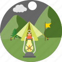camp, camping, lamp, lantern, light, night camp, tent icon