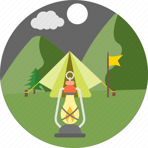 camp, camping, lamp, lantern, light, night camp, tent icon