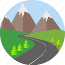 highway, hills, path, road, route, street, way icon