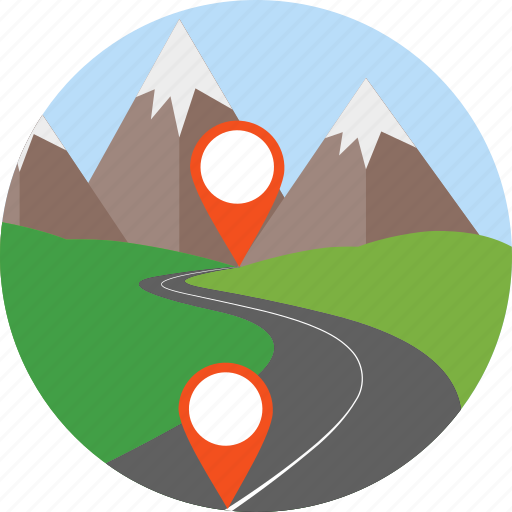 gps, highway, location, navigation, path, track, way icon
