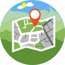 adventure, camp, gps, location, map, navigation, point icon