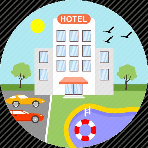 area, birds, building, hotel, parking, restaurant, travel icon