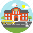 building, campus, education, estate, flag, school, van icon
