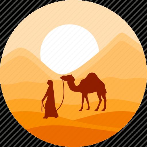 camel, desert, dune, land, sahara, sand, sun icon