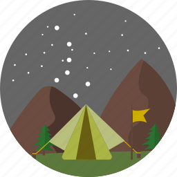 camp, camping, comet, nature, night stars, star, tent icon