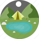 camp, camping, night, pond, pool, swimming, tent icon