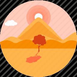 eco, ecology, environment, nature, sand, sunrise, tree icon