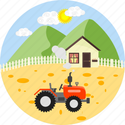 agricultural, agriculture, farm, farming, gardening, tractor, village icon
