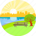 garden, good morning, lake, morning, park, river, seat icon