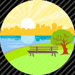 garden, good morning, lake, morning, park, river, seat icon