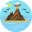 birds, island, japan, japanese, slag, volcanic, volcano icon