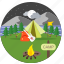 adventure, bonfire, camp, campfire, camping, hiking, tent icon