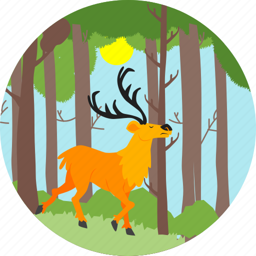 animal, autumn, deer, nature, reindeer, swamp deer, tree icon