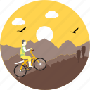 biking, camping, cycle, cycling, mountain biking, sunrise, sunset icon