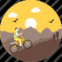 biking, mountain biking, camping, cycle, cycling, sunrise, sunset