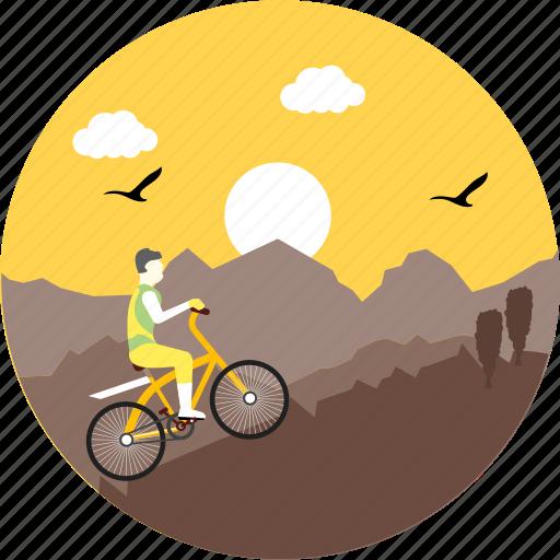 biking, camping, cycle, cycling, mountain biking, sunrise, sunset icon