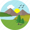 greenery, hill, hills, lake, river, sun, sunny icon