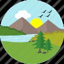 lake, river, sun, sunny, greenery, hill, hills