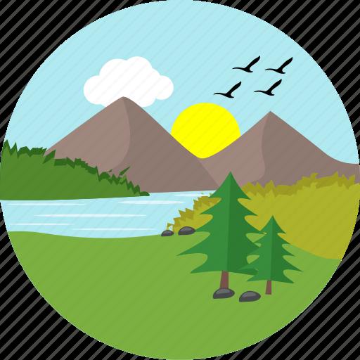 greenery, hill, hills, lake, river, sun, sunny icon