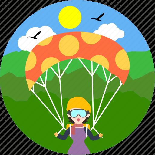 adventure, adventurous, parachute, paraglide, paragliding, sport, sports icon