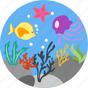 diving, scuba, undersea, water, fish, animals, live icon