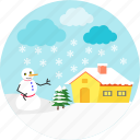 christmas, rain, raining, snow man, snowfall, snowflake, winter icon