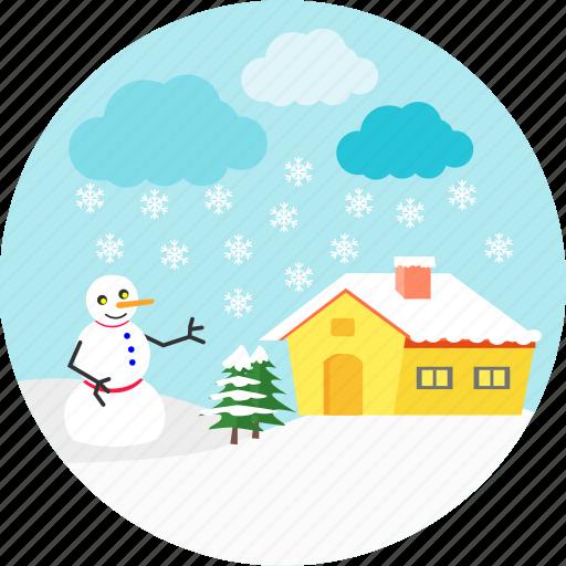 christmas, rain, raining, snow man, snowfall, snowflake, winter icon