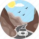 hill road, road, car, birds, danger area, hill, hills icon