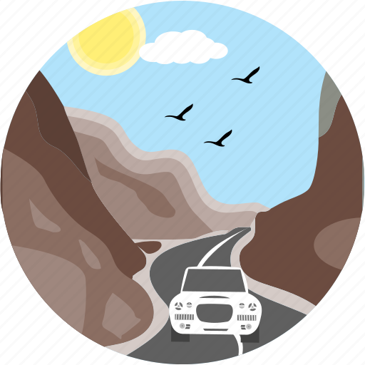 birds, car, danger area, hill, hill road, hills, road icon