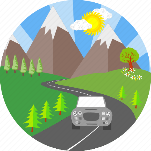 car, city, hill, hills, mountain, road, travel icon
