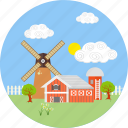 cloud, farm, farmhouse, farming, house, village, windmill icon
