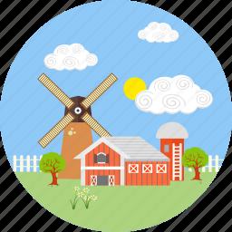 cloud, farm, farmhouse, farming, house, village, windmill icon
