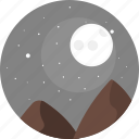 night, sky, moon, stars, hill, hills, nature