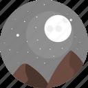 night, sky, moon, stars, hill, hills, nature