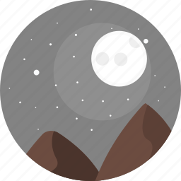 hill, hills, moon, nature, night, sky, stars icon