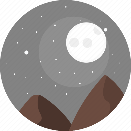 Night, sky, moon, stars, hill, hills, nature icon - Download on Iconfinder
