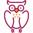 bird, education, halloween, horror, owl, scary, school icon