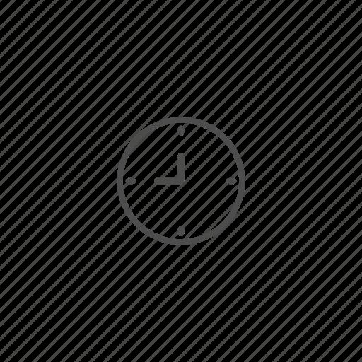 clock, line, outline, school icon