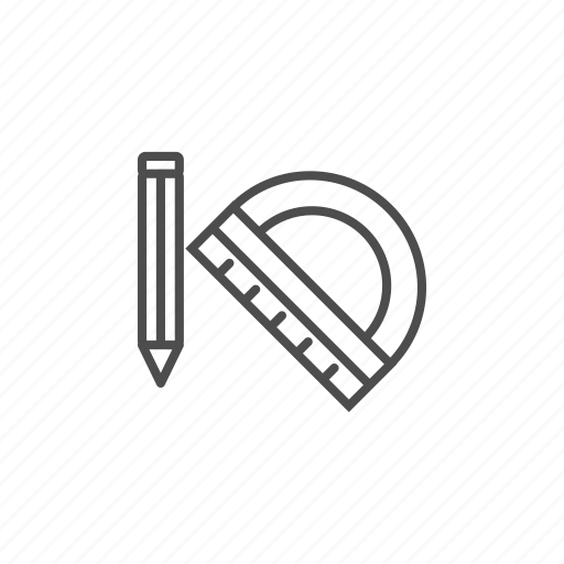 line, outline, pencil, ruler, school icon