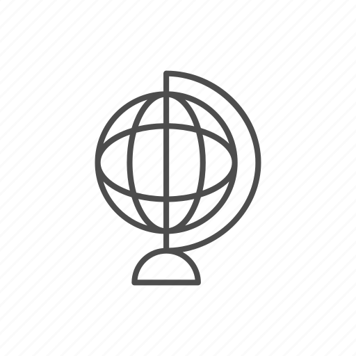 globe, line, outline, school icon