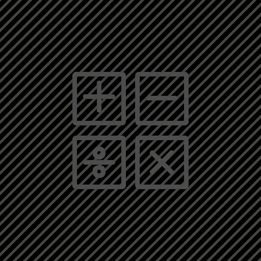 calculator, line, outline, school icon